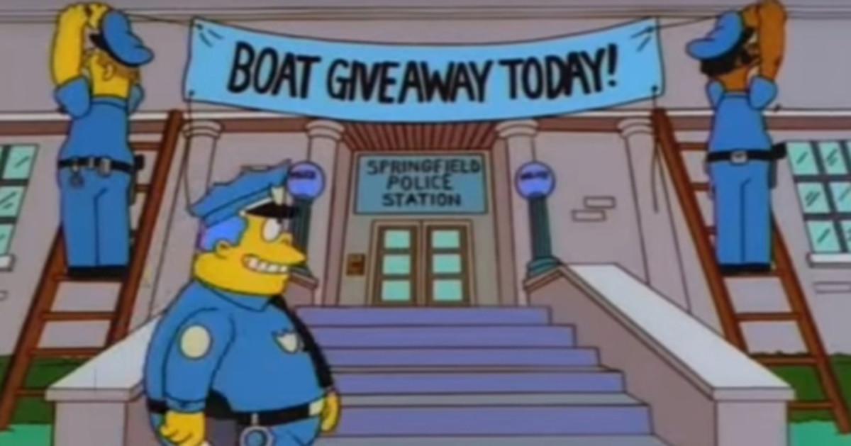 Imagen del capítulo de los Simpsons donde se engaña a los delincuentes regalándoles una lancha motora.
