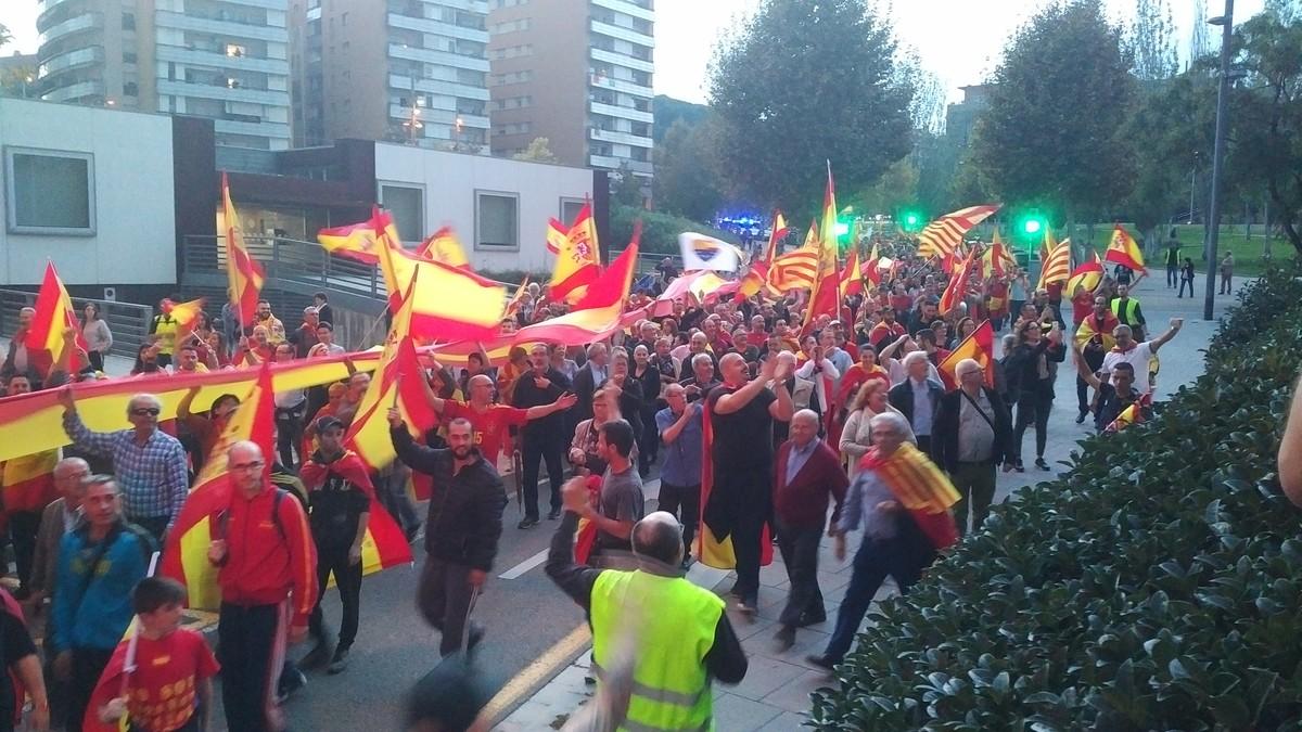 Imagen de la manifestación a favor de la unidad de España que se ha celebrado este sábado en Mataró.