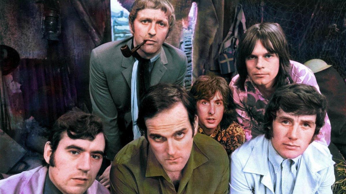 Los Monty Python al completo en sus mejores años.