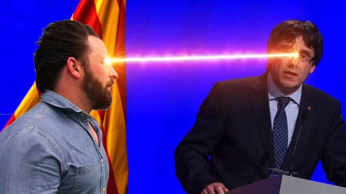 Abascal españolizando a Puigdemont en el videoclip de la canción sobre Vox.