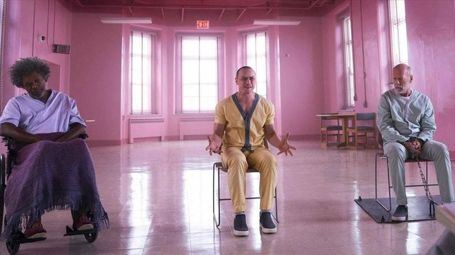 Samuel L. Jackson, James McAvoy y Bruce Willis en Glass (Cristal), la nueva película de M. Night Shyamalan.