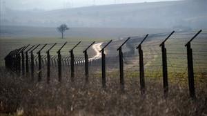 Alambrada entre la frontera de Bulgaria y Turquía.