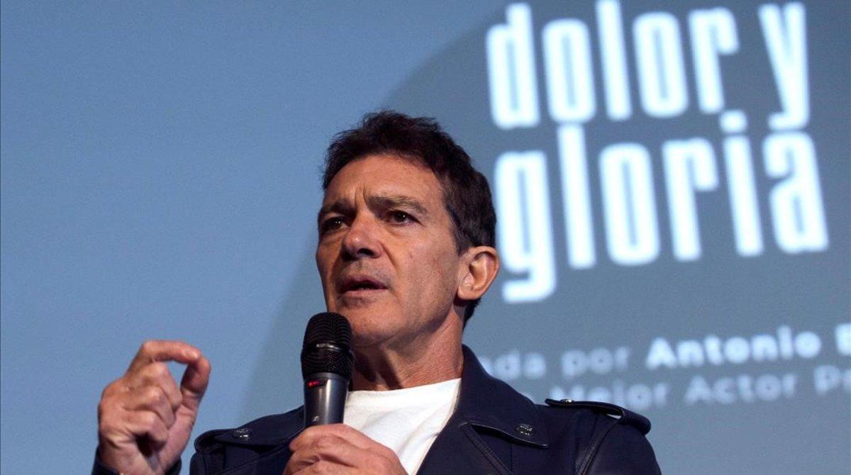 Antonio Banderas en la presentación de Dolor y Gloria.