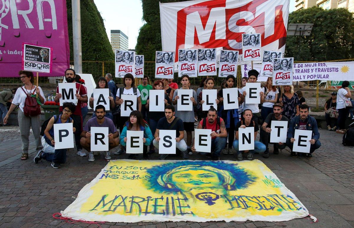 Homenaja a la activista brasileñaMarielle Francoen Buenos Aires, Argentina.