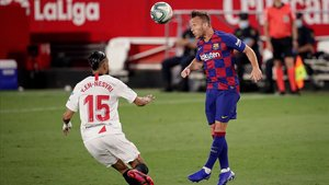 Arthur Melo, en el último partido del Barça jugado ante el Sevilla el pasado viernes.