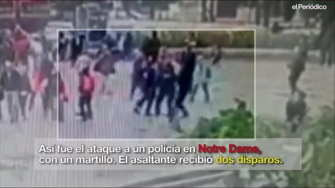 Así fue el ataque a un policia frente a Notre Dame, en París.