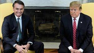 Bolsonaro y Trump durante su cita en la Casa Blanca.