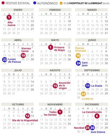 Calendario laboral de LHospitalet de Llobregat del 2019.