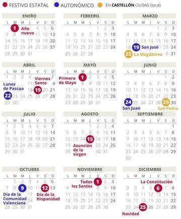 Calendario laboral de Castellón del 2019 (con todos los festivos)