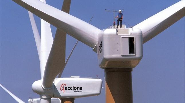 Campo eólico de Acciona en Navarra.