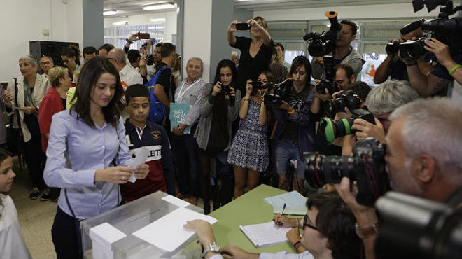 Declaraciones de la candidata de Ciudadanos, Inés Arrimadas, tras su votación en el 27-S.