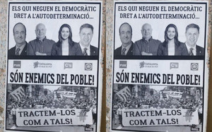 El cartel que ha aparecido en Lleida contra Iceta, Arrimadas, Rabell y Albiol.