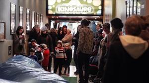 El 'hall' de los Cinemes Girona, en la sesión de 'Kinosaure' que hubo en diciembre.