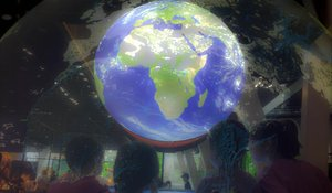 Globo terráqueo, en el centro de la Sala Universo.