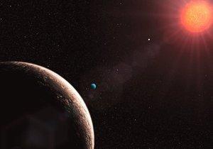 Simulación del sistema solar de la estrella enana roja Gliese.