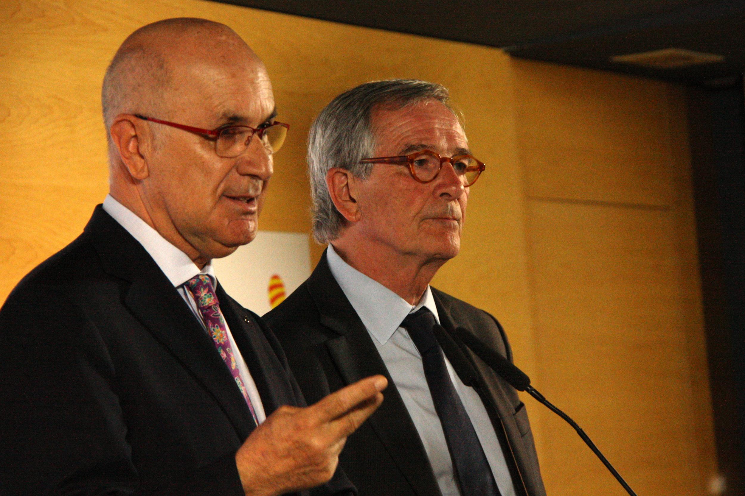 Rueda de prensa de Duran Lleida y Trias en la sede de Unió.