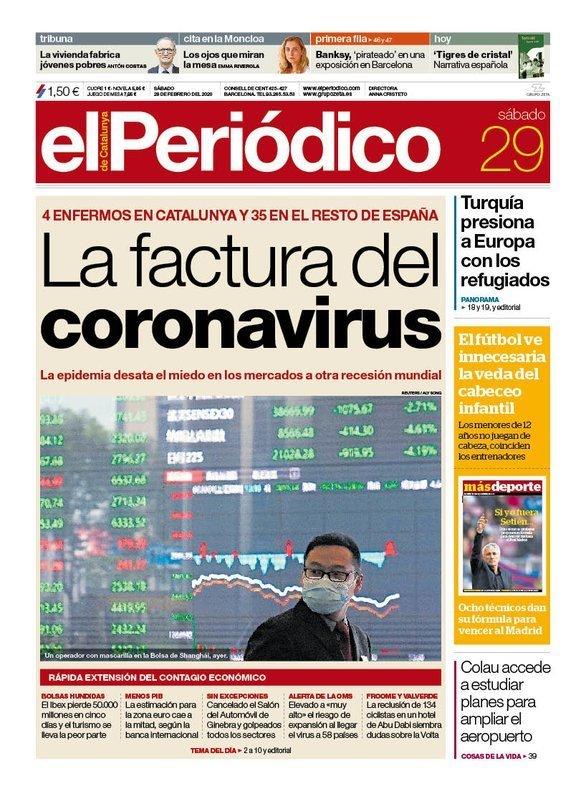 Prensa de hoy: Las portadas de los periódicos del sábado 29 de febrero del 2020