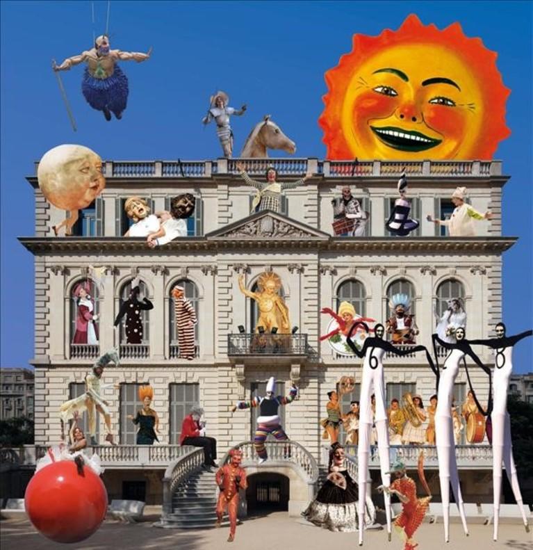 Imagen del cartel promocional de la exposición Comediants, inventors dun nou llenguatge comisariada por Joan Font y Dani Freixes.