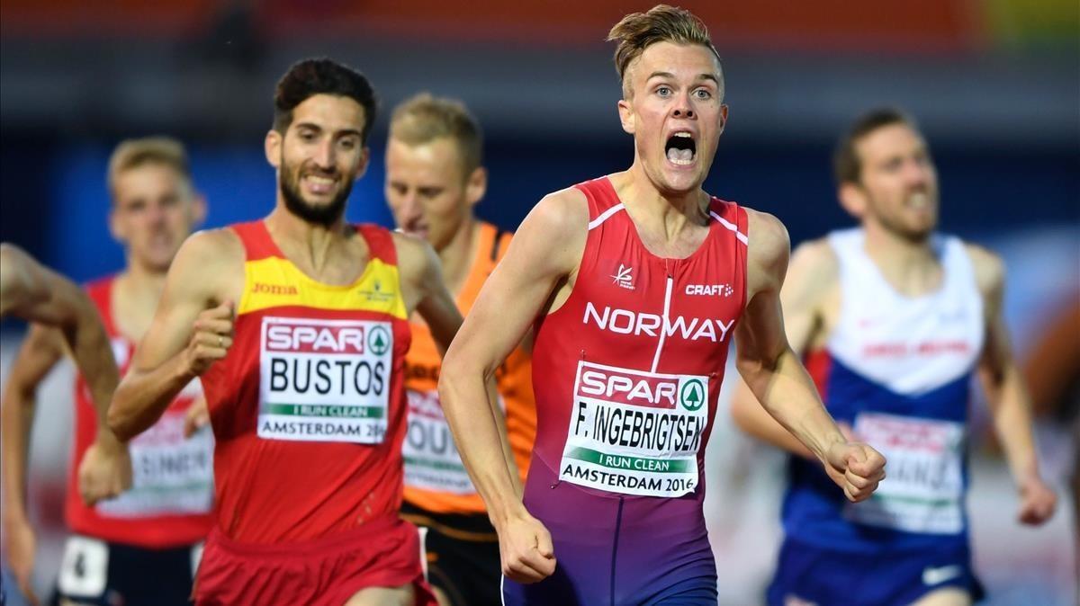 Filip Ingebrigtsen, cuando ganó el Europeo del 2016 ante el español David Bustos.