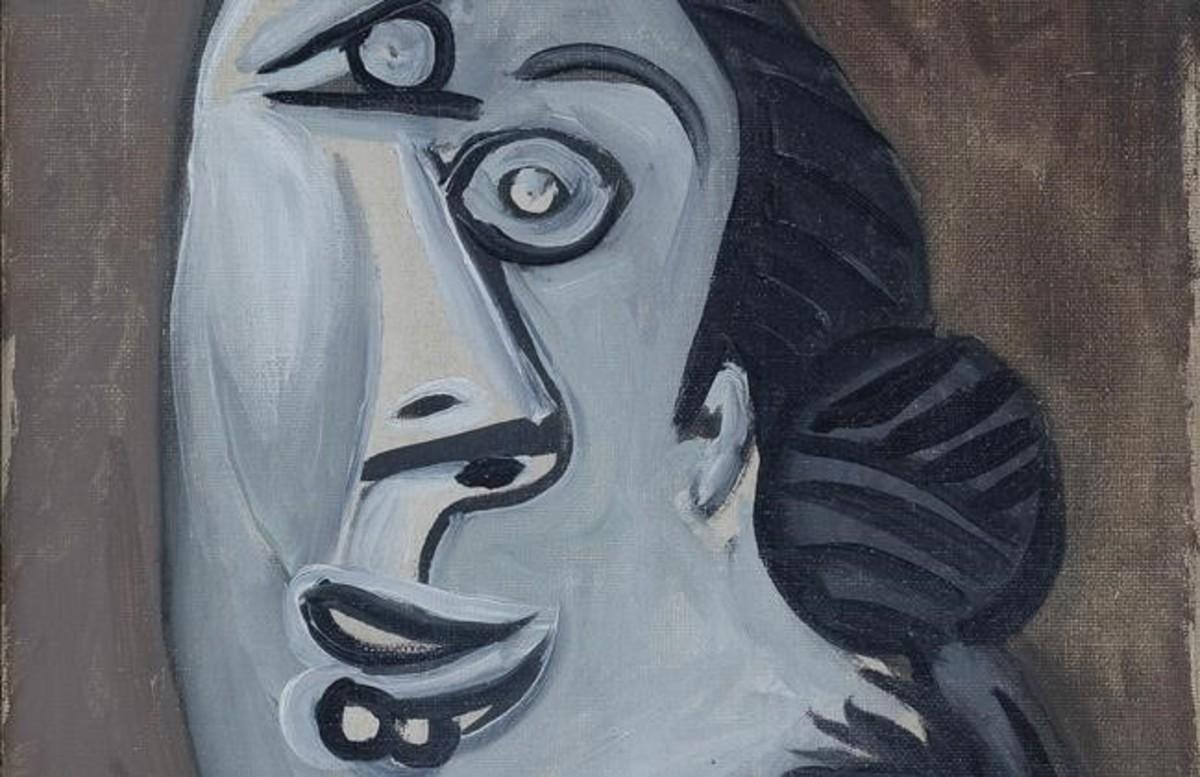 Fragmento de Cabeza de mujer (1953) de Picasso, en la exposición Artistas revolucionarios de la galería Mayoral.