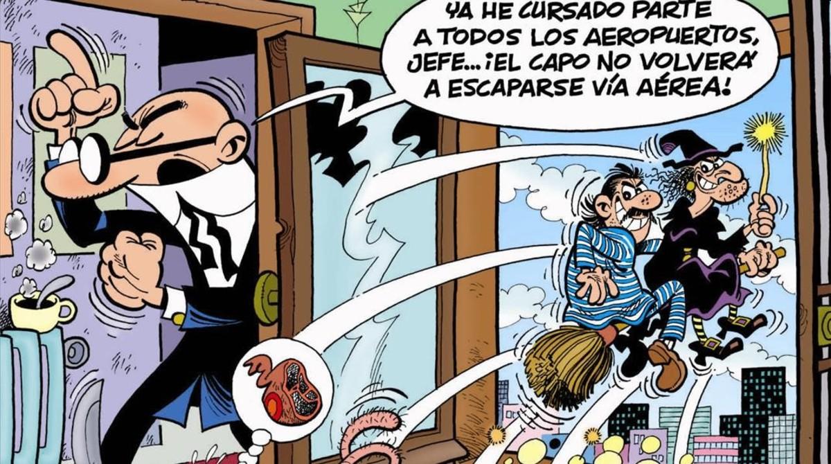 Fragmento de la portada ¡El capo de escapa!, nueva aventura de Mortadelo y Filemón.