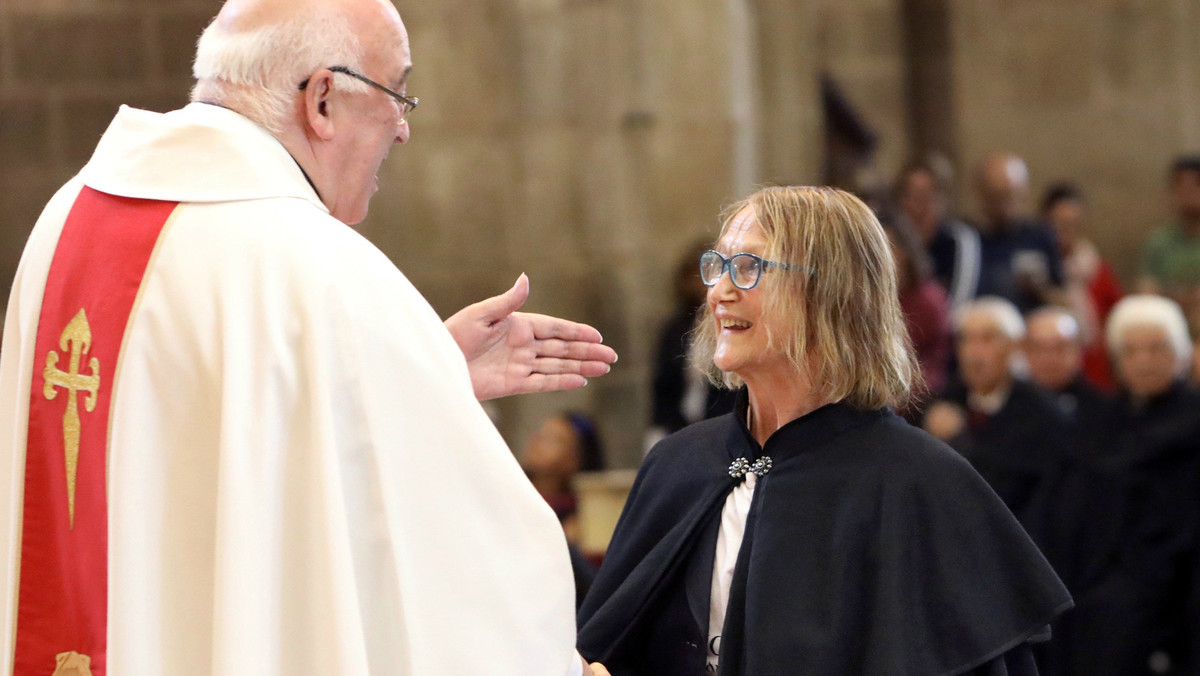 La hermana de John Lennon, Julia Baird,en la Catedral de Santiago, este miércoles.