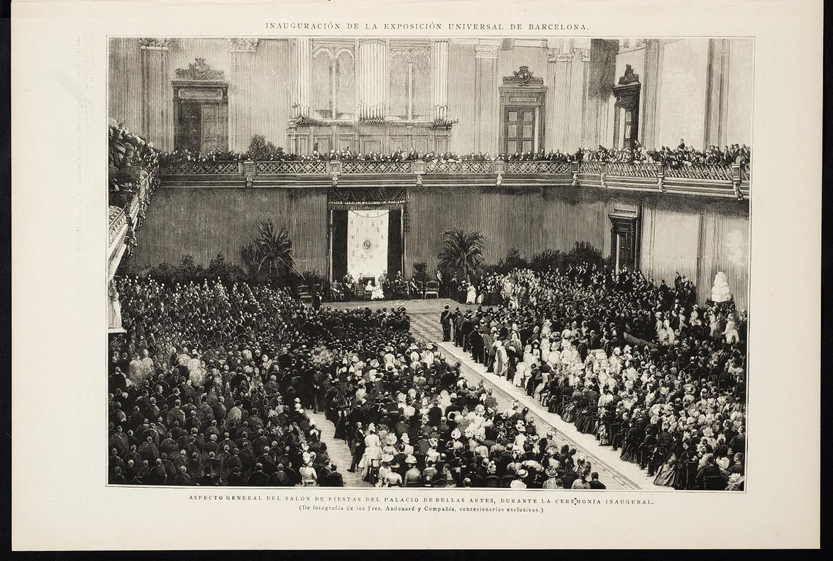 La ceremonia inaugural de la Exposición Universalde 1988 celebrada en el salón de fiestas del Palacio de las Bellas Artes.