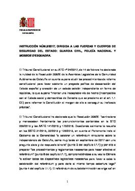 Instrucción de la fiscalía a los cuerpos de seguridad del Estado sobre el referéndum
