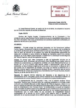 La JEC veta a Junqueras recoger su actade eurodiputado.