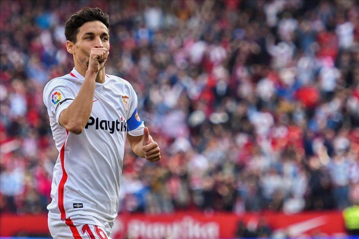 Jesús Navas celebrando su gol ante el FC Barcelona