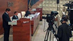 El presidente de Bankia,Jose Ignacio Goirigolzarri,durante la junta de accionistas del 2020, celebrada de manera no presencial.