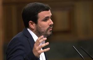 El coordinador general de IU, Alberto Garzón, en el Congreso.