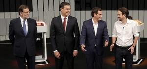 Mariano Rajoy, Pedro Sánchez, Albert Rivera y Pablo Iglesias en el debate a cuatro.