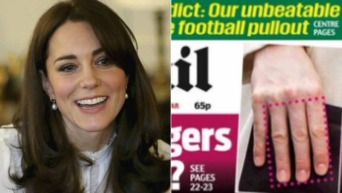Los dedos de Middleton, a la derecha, en la portada del Daily Mail.