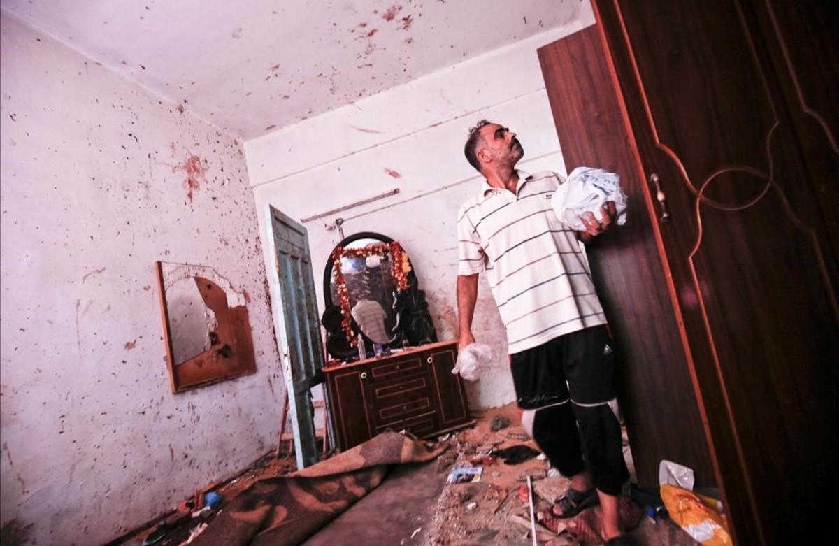 Los restos de la casa donde la palestina embarazada y su hija de 18 meses murieron por un misil israelí.