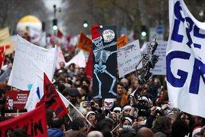 Manifestación en París contra la reforma de las pensiones.