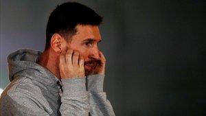 Messi, en un acto publicitario en L' Hospitalet.