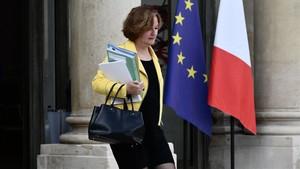 La ministra francesa de Asuntos Europeos,Nathalie Loiseau, sale del Elíseo el pasado lunes.