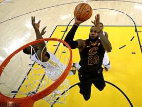 May 31, 2018; Oakland, CA, USA; Cleveland Cavaliers forward LeBron James (23) shoots the ball against Golden State Warriors forward Draymond Green (23) in game one of the 2018 NBA Finals at Oracle Arena. Mandatory Credit: Ezra Shaw/pool photo via USA TODAY Sports