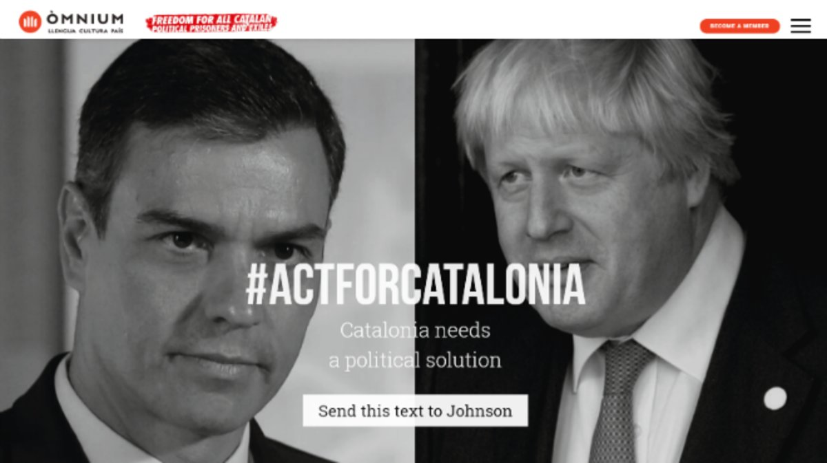 Imagen de la web de la iniciativa de Òmnium Cultural que pide presión ciudadana a líderes políticos europeos