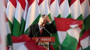 Viktor Orbán durante la campaña electoral.