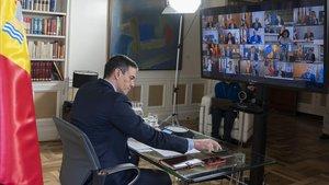 Pedro Sánchez, durante la videoconferencia con los presidentes autonómicos de la semana pasada.