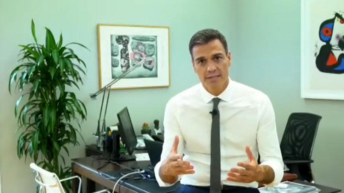 Pedro Sánchez hace balance de sus 100 días de gobierno en un vídeo.