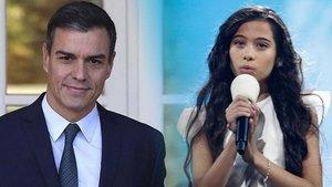 Pedro Sánchez felicita a Melani por su actuación en Eurovisión Junior