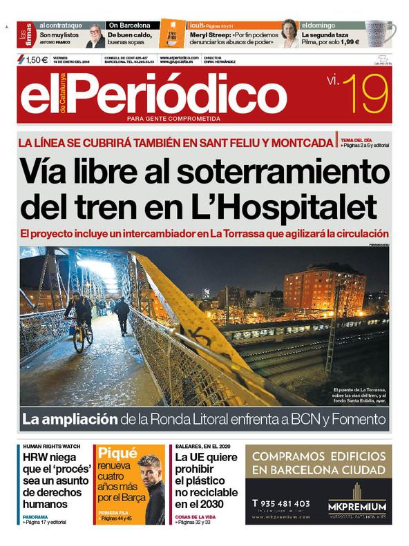 La portada de EL PERIÓDICO del 19 de enero del 2018