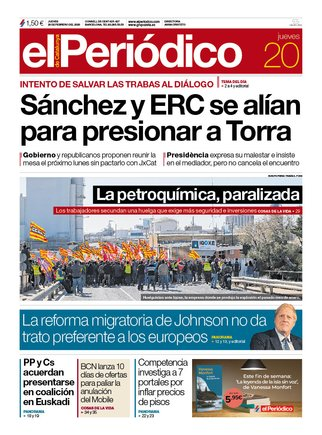 La portada de EL PERIÓDICO del 20 de febrero del 2020.
