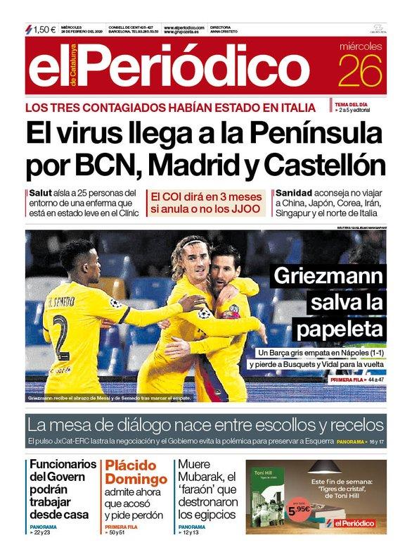 La portada de EL PERIÓDICO del 26 de febrero del 2020.