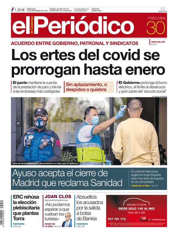 La portada de EL PERIÓDICO del 30 de septiembre del 2020.