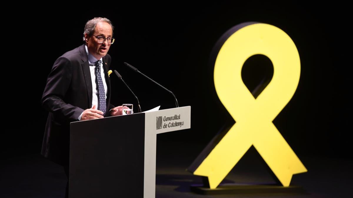 El president de la Generalitat, Quim Torra,durante su discurso en el TNC, este 4 de septiembre