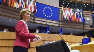 Lapresidenta de la Comisión Europea, Ursula von der Leyen,durante la presentación del plan de recuperación de la eurozona tras la crisis del coronavirus, este miércoles 27 de mayo.